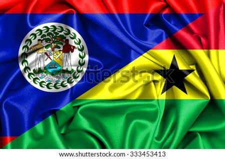 Waving flag of Ghana and Belize  - stock photo