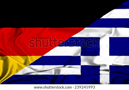 Waving flag of Greece and Germany - stock photo