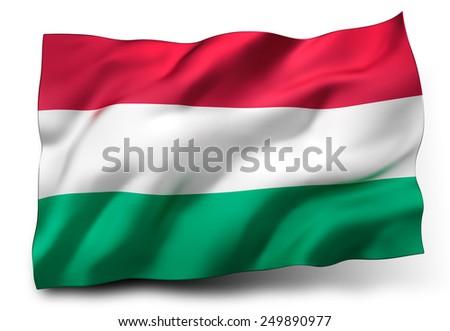 Waving flag of Hungary isolated on white background - stock photo