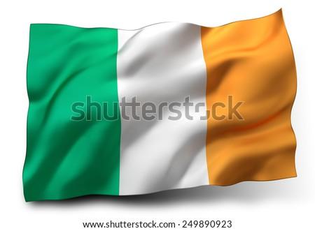 Waving flag of Ireland isolated on white background - stock photo