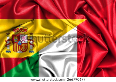 Waving flag of Italy and Spain - stock photo