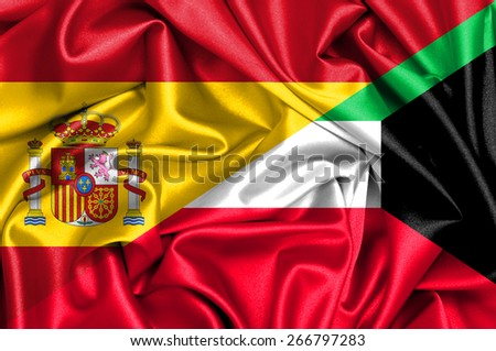 Waving flag of Kuwait and Spain - stock photo