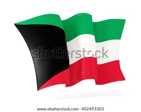 Waving flag of kuwait isolated on white. 3D illustration - stock photo