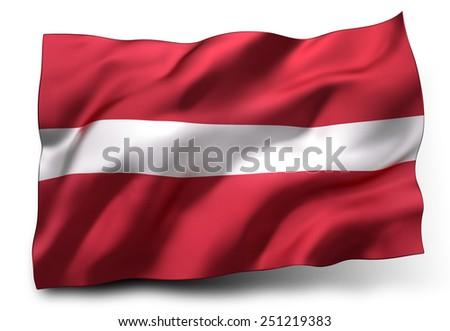 Waving flag of Latvia isolated on white background - stock photo