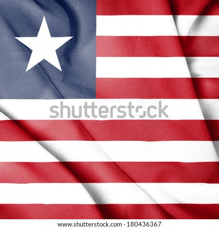 Waving Flag of Liberia - stock photo