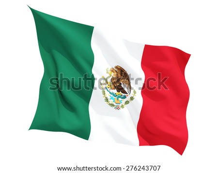 Waving flag of mexico isolated on white - stock photo