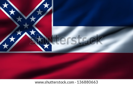 Waving flag of Mississippi. Design 1. - stock photo