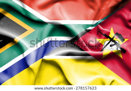 Waving flag of Mozambique and South Africa - stock photo