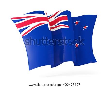 Waving flag of new zealand isolated on white. 3D illustration - stock photo