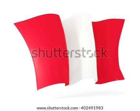 Waving flag of peru isolated on white. 3D illustration - stock photo