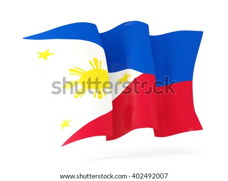 Waving flag of philippines isolated on white. 3D illustration - stock photo