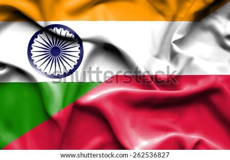 Waving flag of Poland and India - stock photo