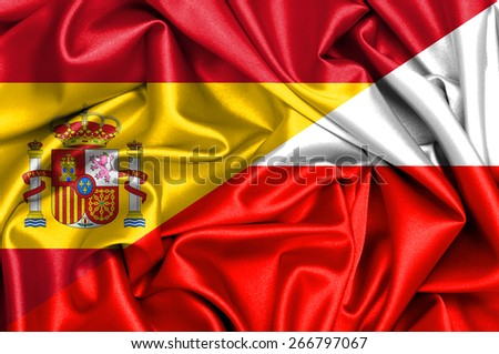 Waving flag of Poland and Spain - stock photo
