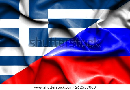 Waving flag of Russia and Greece - stock photo