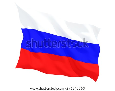 Waving flag of russia isolated on white - stock photo