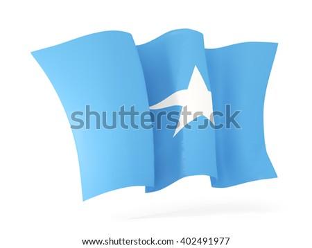 Waving flag of somalia isolated on white. 3D illustration - stock photo