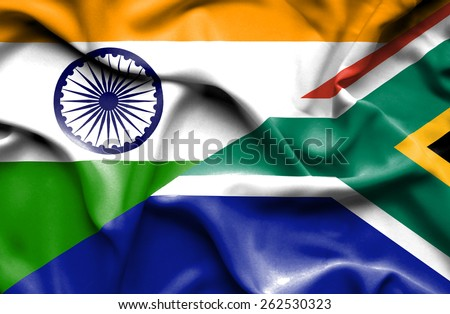 Waving flag of South Africa and India - stock photo