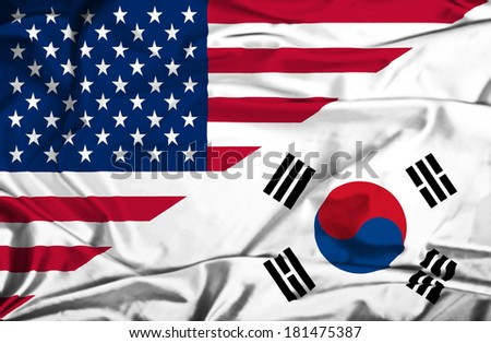 Waving flag of South Korea and USA - stock photo