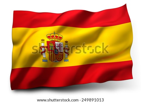 Waving flag of Spain isolated on white background - stock photo