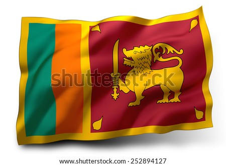 Waving flag of Sri Lanka isolated on white background - stock photo
