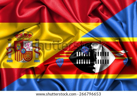 Waving flag of Swaziland and Spain - stock photo