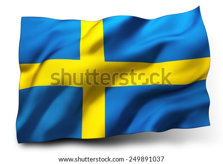 Waving flag of Sweden isolated on white background - stock photo