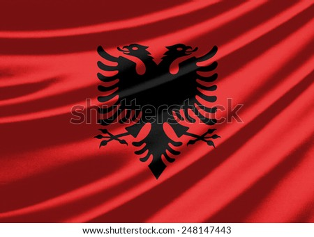 Waving flag of the Albania - stock photo