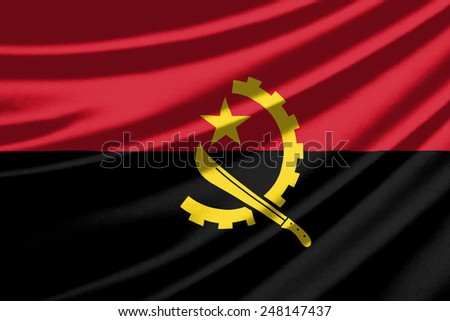 Waving flag of the Angola - stock photo