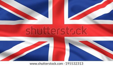 waving flag of The United Kingdom. Union jack or Union flag. - stock photo