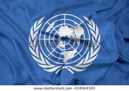 Waving Flag of United Nations - stock photo
