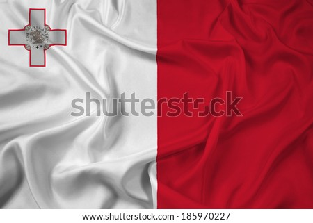 Waving Malta Flag - stock photo