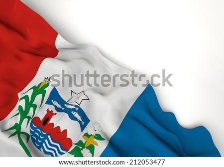 Waving of alagoas flag, in corner of white background  - stock photo