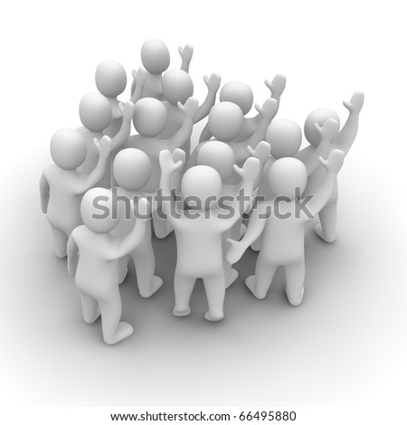 Waving people group. 3d rendered illustration isolated on white. - stock photo