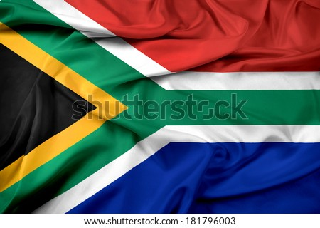 Waving South Africa Flag - stock photo