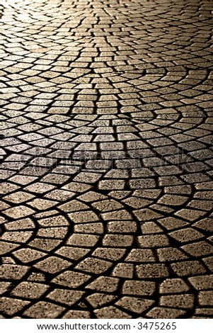 wavy brick walkway - stock photo