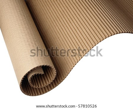 Wavy corrugated paper shot on white background, hi res scan from film - stock photo