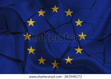 Wavy flag of EU on a cracked paint wall. A sign of uncertainty in the region after several countries have an economic crisis that need bailout and austerity plan. Economic and political concept. - stock photo