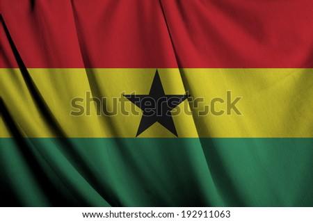 wavy flag of Ghana.  - stock photo