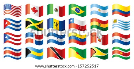 Wavy flags set - America. 24 Vector flags.  - stock photo