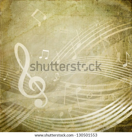 Wavy score with musical notes on grunge sepia background - stock photo