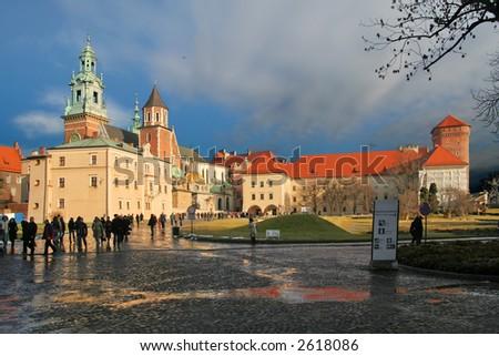 Wawel castle in Krakow - stock photo