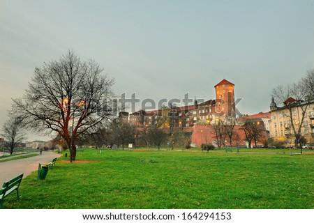 Wawel Castle in Krakow, Poland. - stock photo
