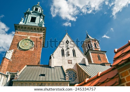 Wawel Cathedral (The Cathedral Basilica of Sts. Stanislaw and Vaclav) - famous Polish landmark on the Wawel Hill in Kracow - stock photo