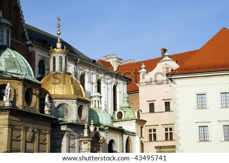 Wawel Cathedral (The Cathedral Basilica of Sts. Stanislaw and Vaclav) - famous Polish landmark on the Wawel Hill in Cracow - stock photo