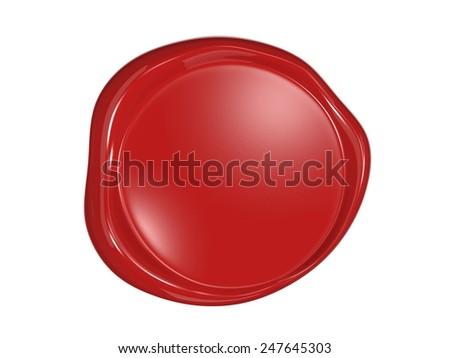 Wax seal on white envelope - stock photo
