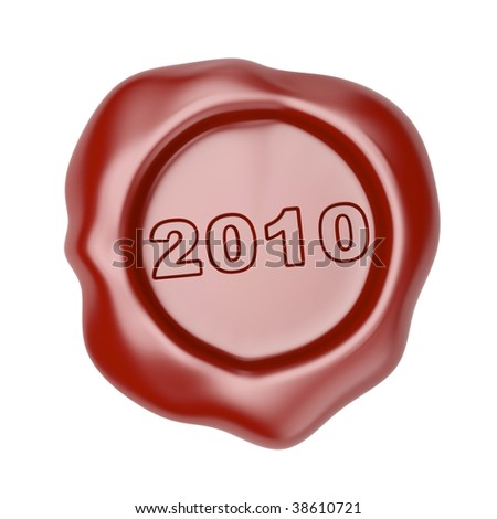 Wax seal with 2010 - stock photo