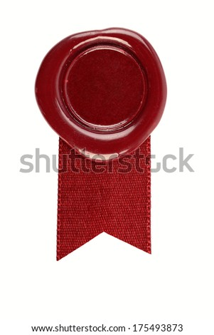 Wax seal with a red ribbon on white background - stock photo