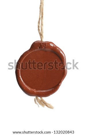 wax seal with a rope on a white background - stock photo