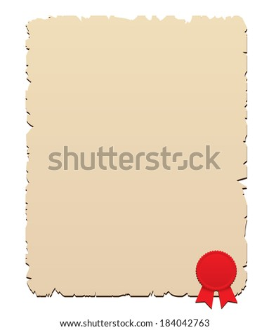 Wax seal with old paper - stock photo