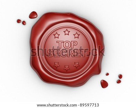 Wax seal with small stars and the word Top Secret. 3d render illustration - stock photo